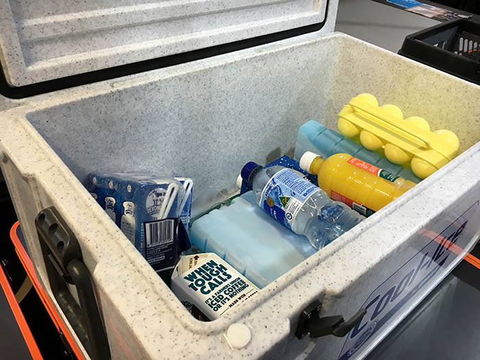 ice blocks and bottles in a waeco cooler
