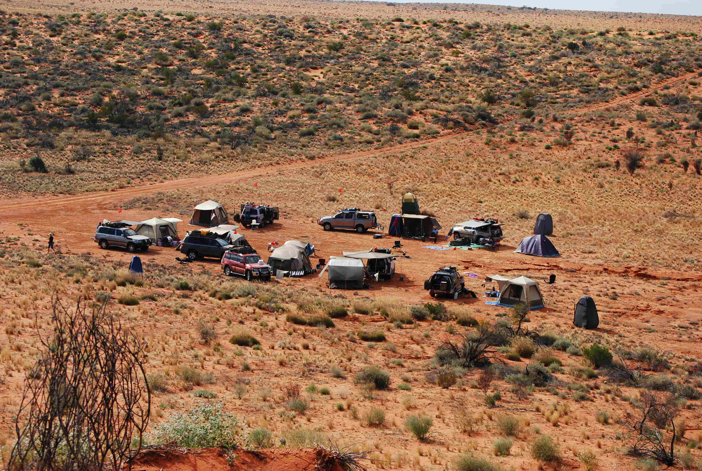 Camping in the Simpson Desert - Lots of Black Wolf Turbo Tents and Oztent RVs