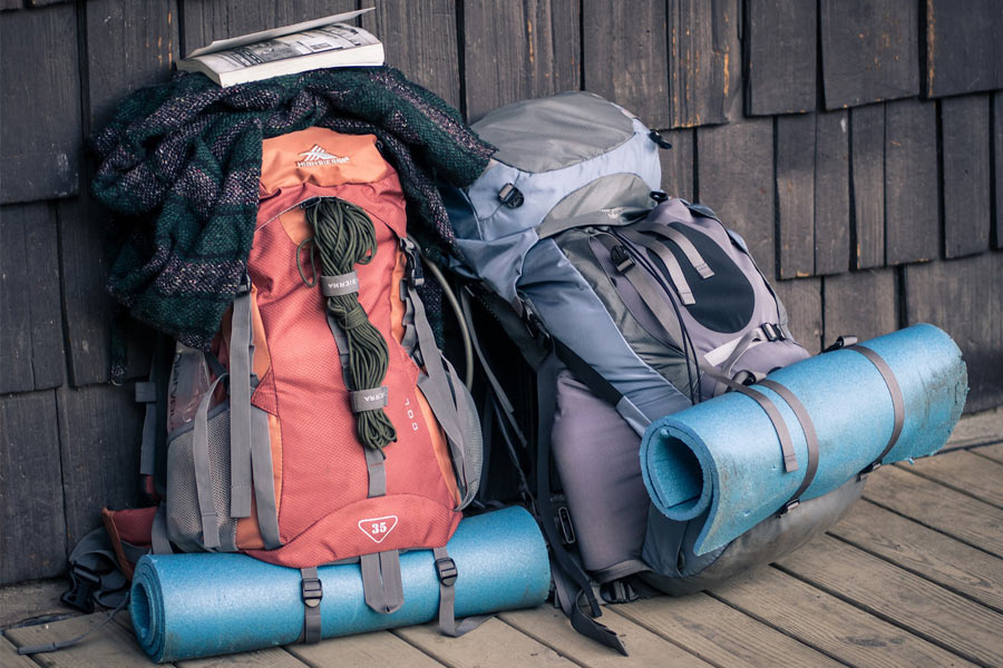 Packed rucksacks ready to go on a journey