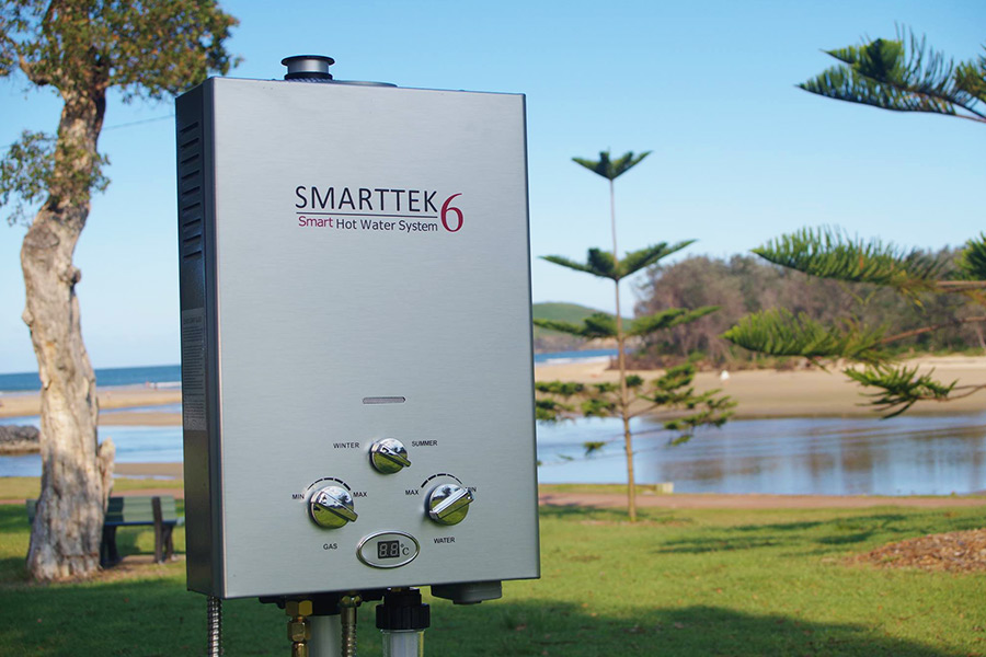 Smarttek Hot Water System setup outdoors