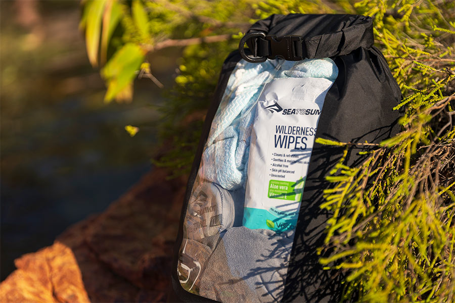 Wilderness wipes packed in a bag with other cleaning gear