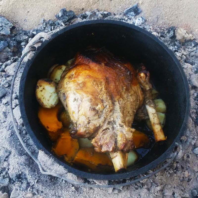 Roast Lamb in the Camp Oven - 6 steps including gravy!