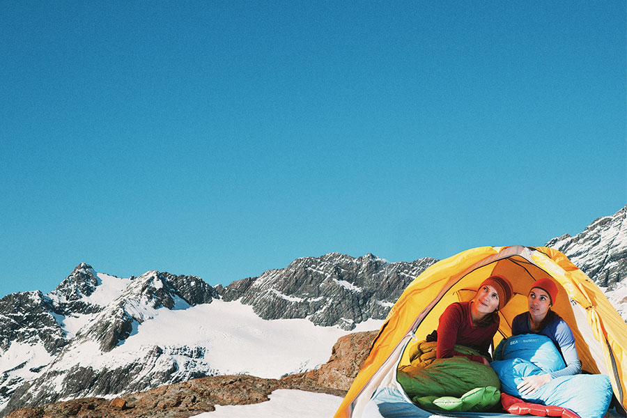 Two women in four season Sea to Summit hiking tent in the snow