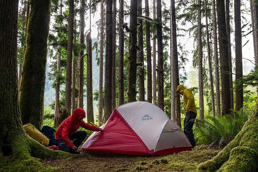Two men setting up an MSR hiking tent in between trees