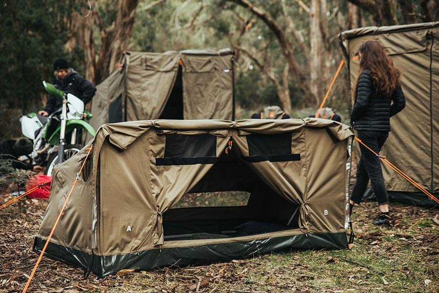 Oztent swag setup outdoors
