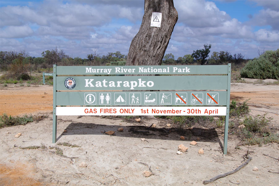 Gas Fires Only Sign in Murray River National Park