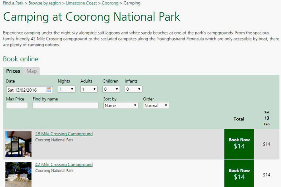 Environment SA Online Campsite Booking System