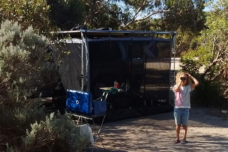 Kids camping at the Coorong