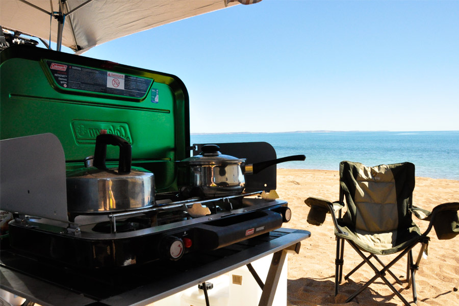 Cooking up a feed at Cleaverville Beach