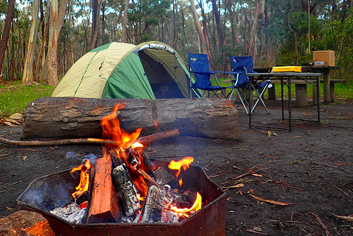 A campsite and campfire at Kuitpo forest south Australia, Chookarloo Campground