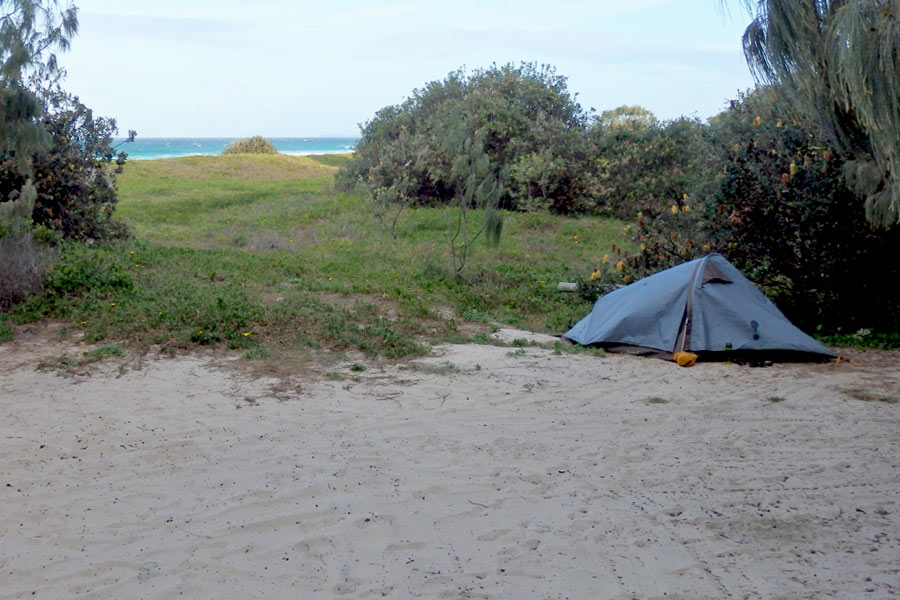Tent at Rous Battery Campsite on Moreton Island