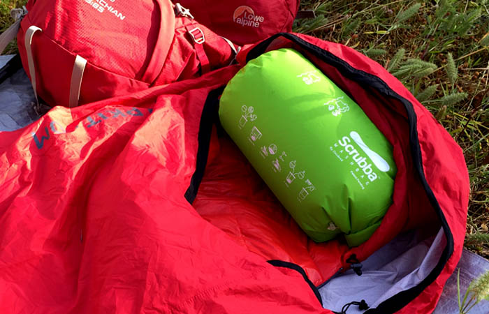 Scrubba Wash Bag - Inflate and use as a pillow (with Sea to Summit Basecamp Sleeping Bag)