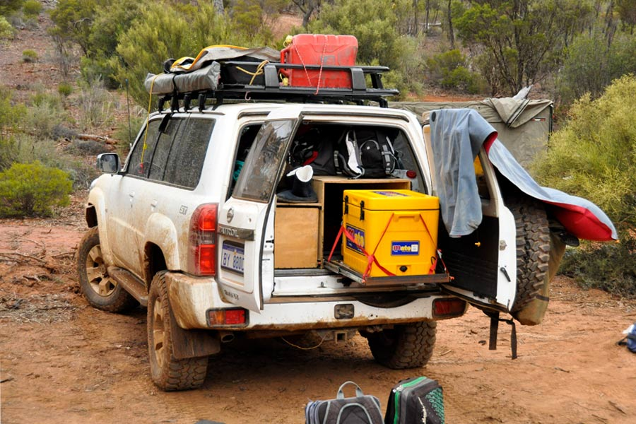 Evakool 55L fridge in back of Nissan Patrol