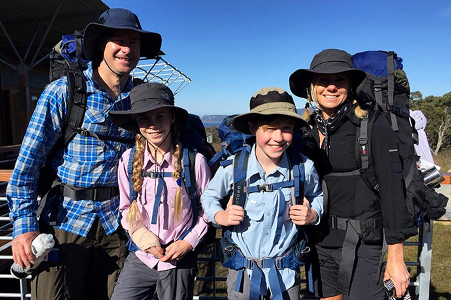 The family at Surveyors Hut on Three Capes