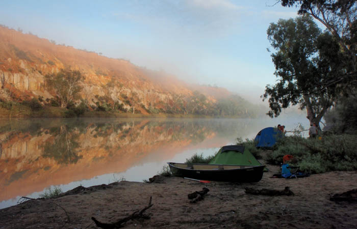 Camping on the murray river near headings cliff with mist