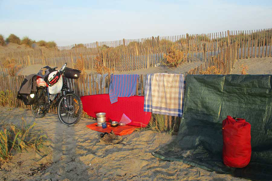Drying out the gear I took on my European cycling trip