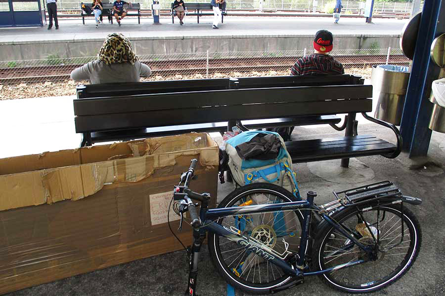 Bike at a train station in Stockholm