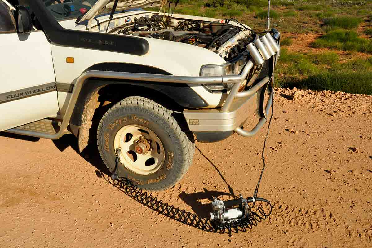 Deflate the tires on your 4WD as you need to