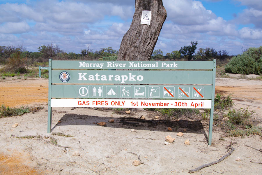Gas Fires Only Sign at Murray River National Park