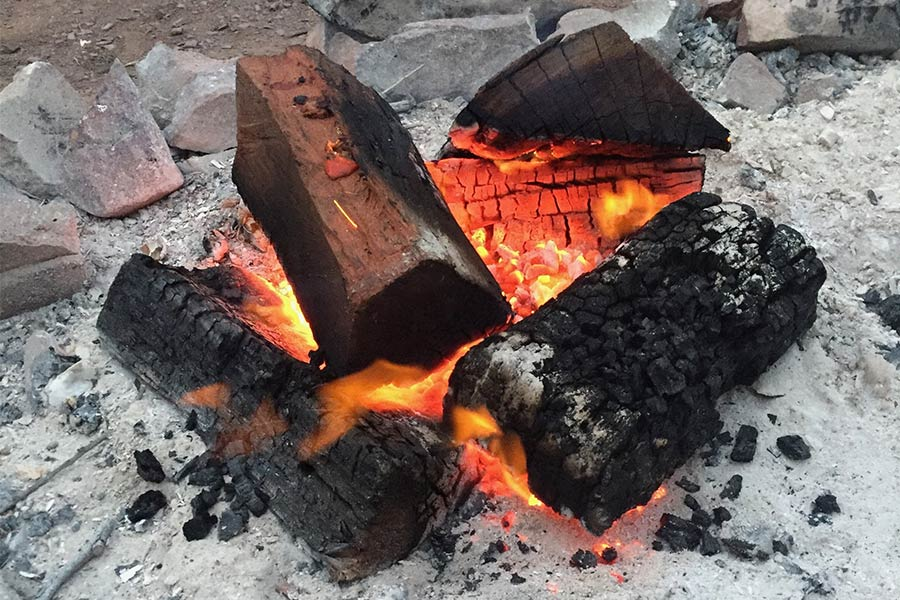 Logs burning into coals on a campfire