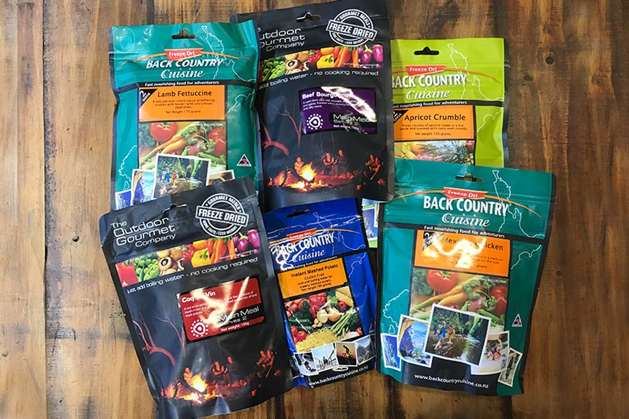 Selection of freeze-dried meals
