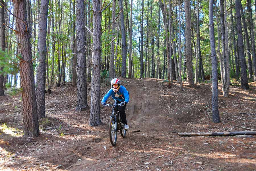 Riding downhill on the Mountain Bike Trails