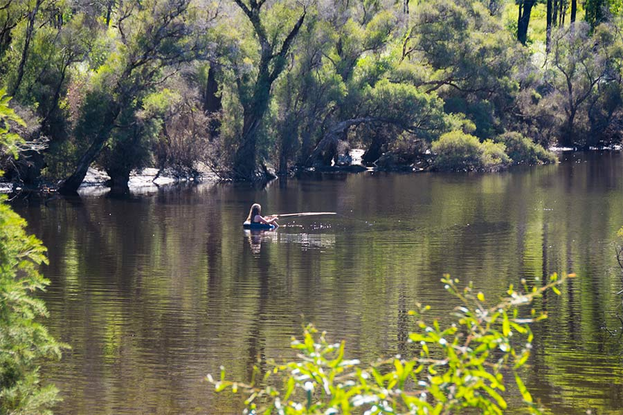 Fishing from a tube in the Murray