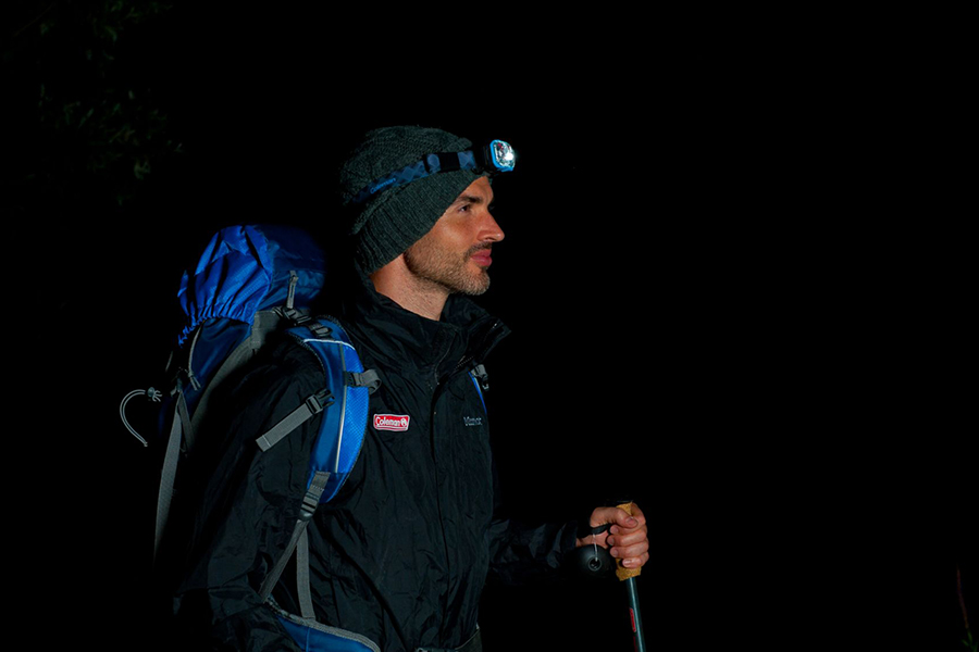 Hiking at night with a headlamp