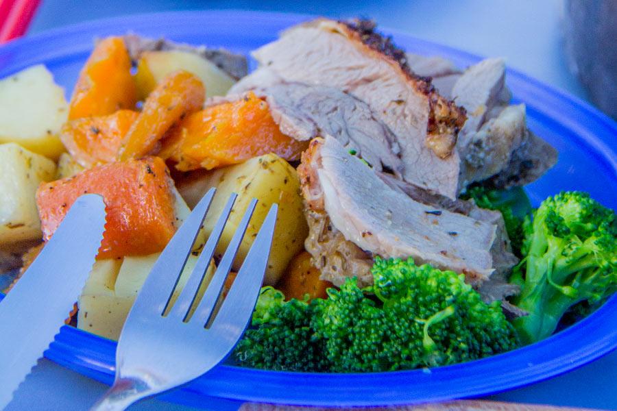 delicious, hot roast lamb dinner