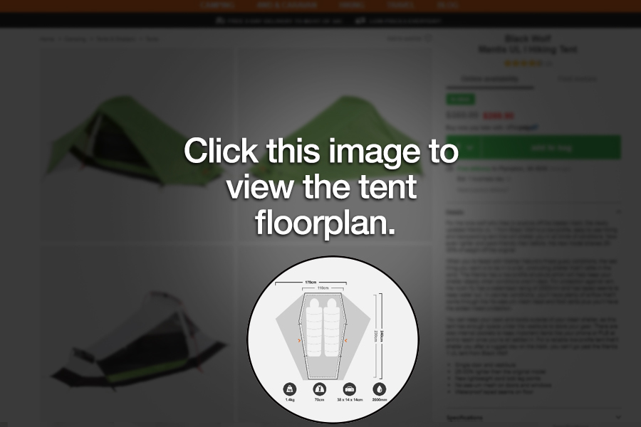 Where to locate a tent floorplan on the Snowys website