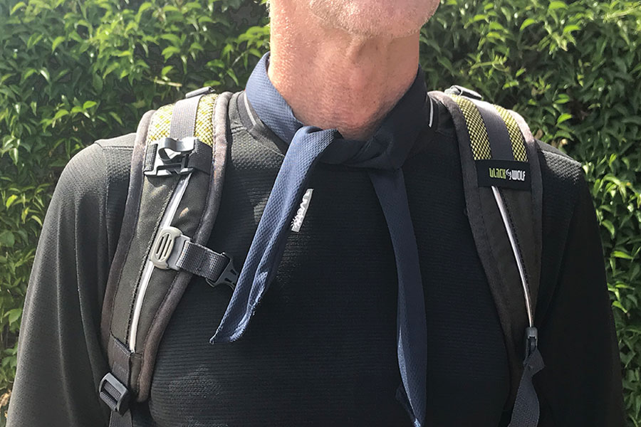 Man wearing Kool Tie while hiking