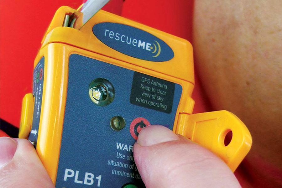 Pressing power button on Rescue Me PLB device