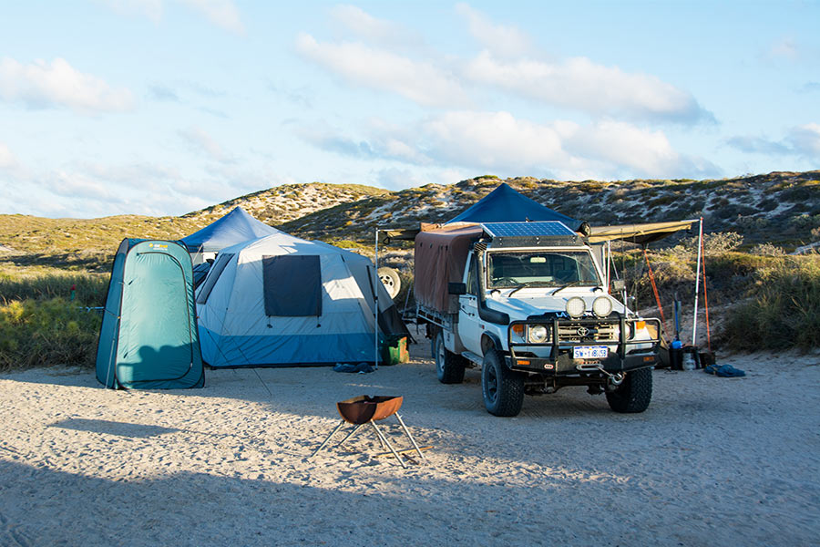 Camp setup at beach