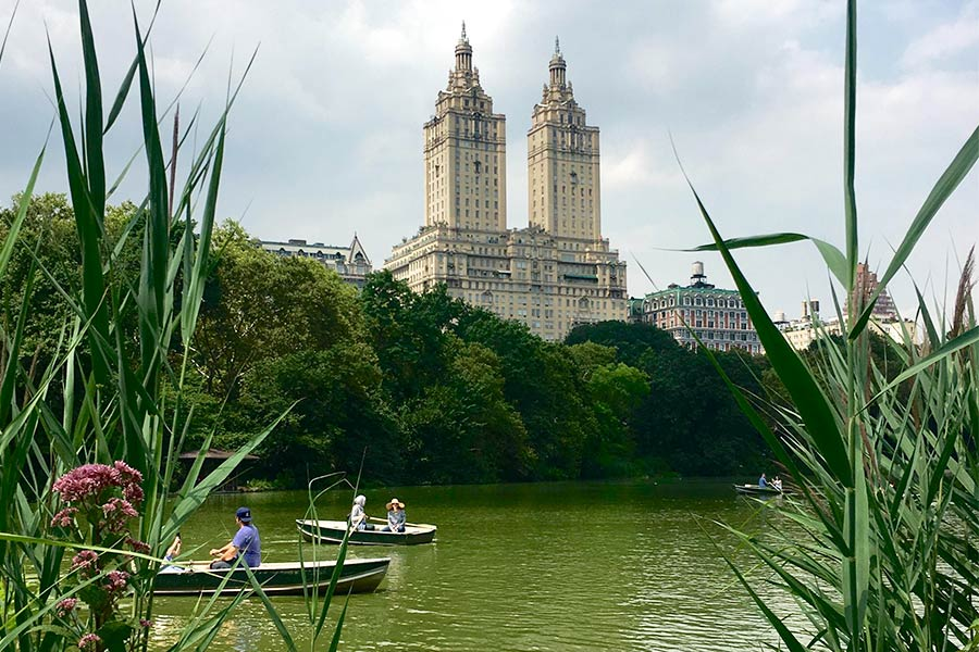 View of people in boats on the water in Central Park.