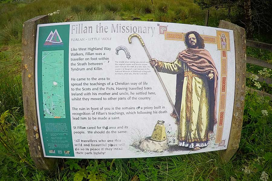 Chapel sign about Fillan the Missionary