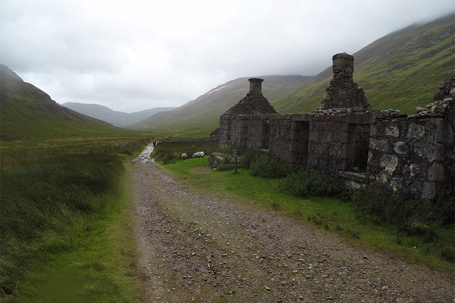 Old ruins next to path along the West Highland Way route