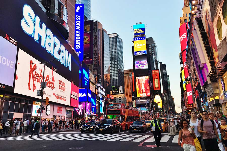 View of the busy Times Square in NYC.