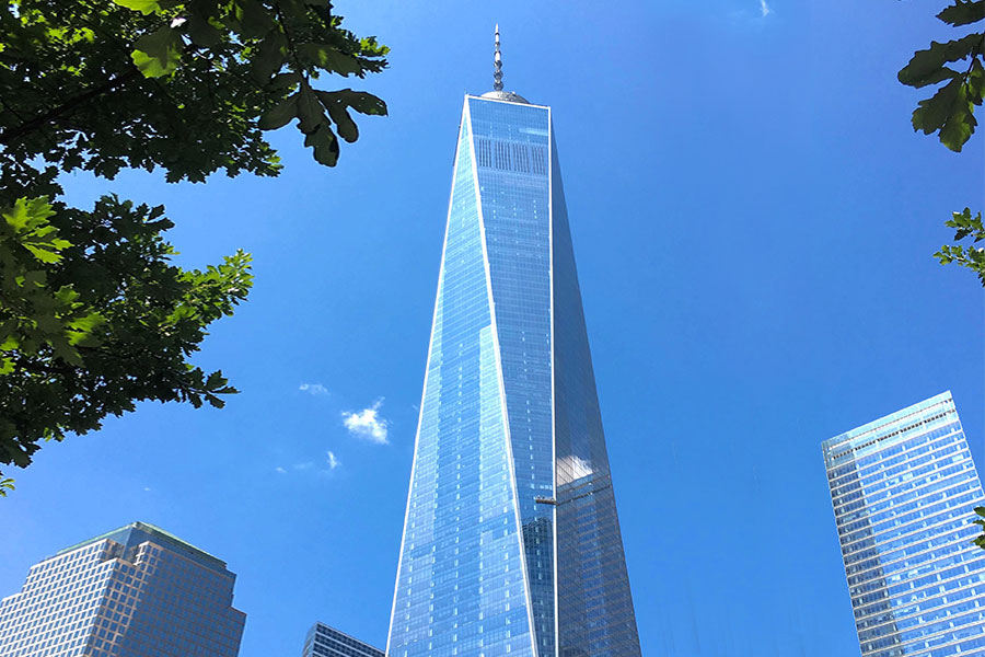 View of the Trade Centre in the financial district, NYC.