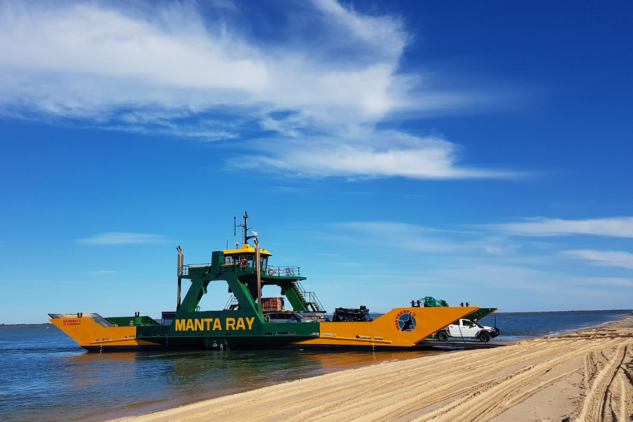 Vehicles departing the barge to Fraser Island