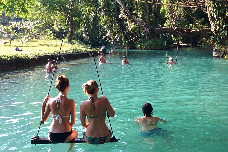 Swimming in Blue Lagoon in Vang Vieng