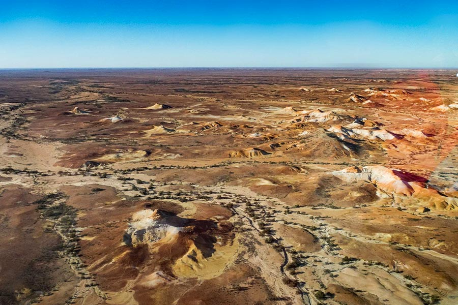 Bird's eye view of Painted Hills from a plane above