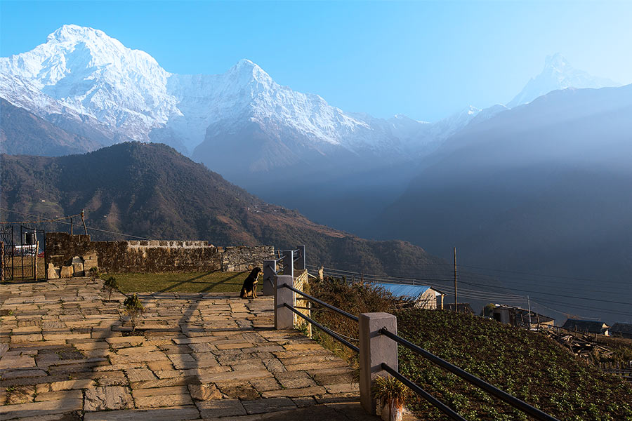 View of Machhapuchhre from the village of Ghandruk.
