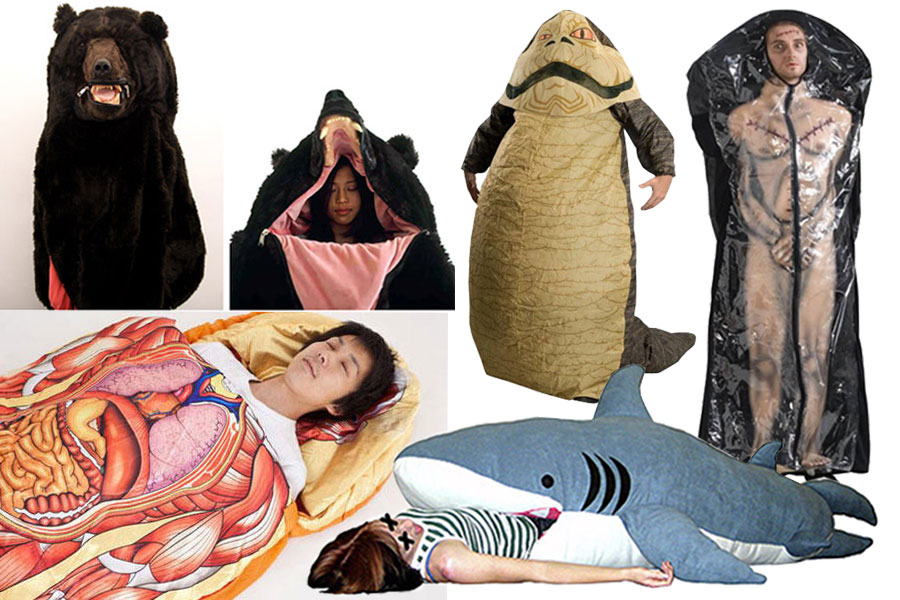 A variety of sleeping bags made to look like animals, dead bodies, etc.