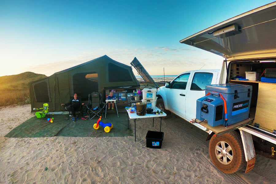 Comfortable camp setup near the beach