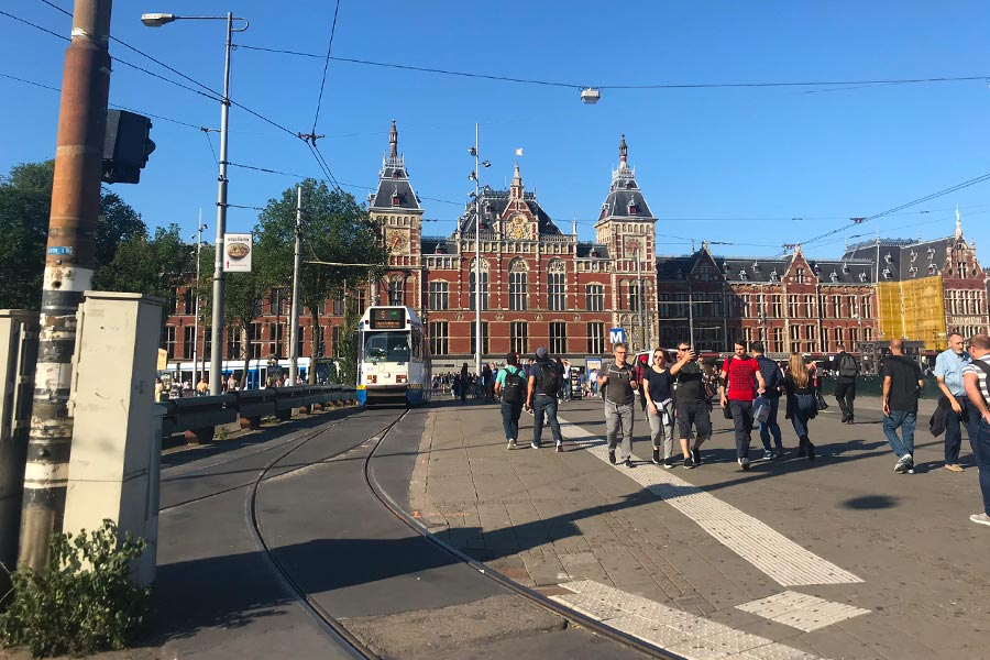View of Amsterdam Centraal train station in Amsterdam