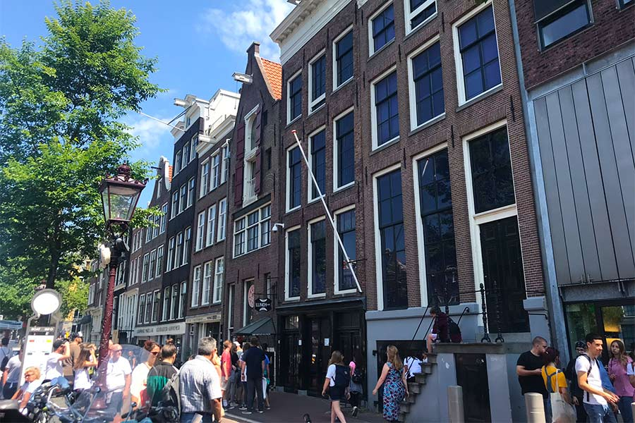 Front view of Anne Frank's house in Amsterdam