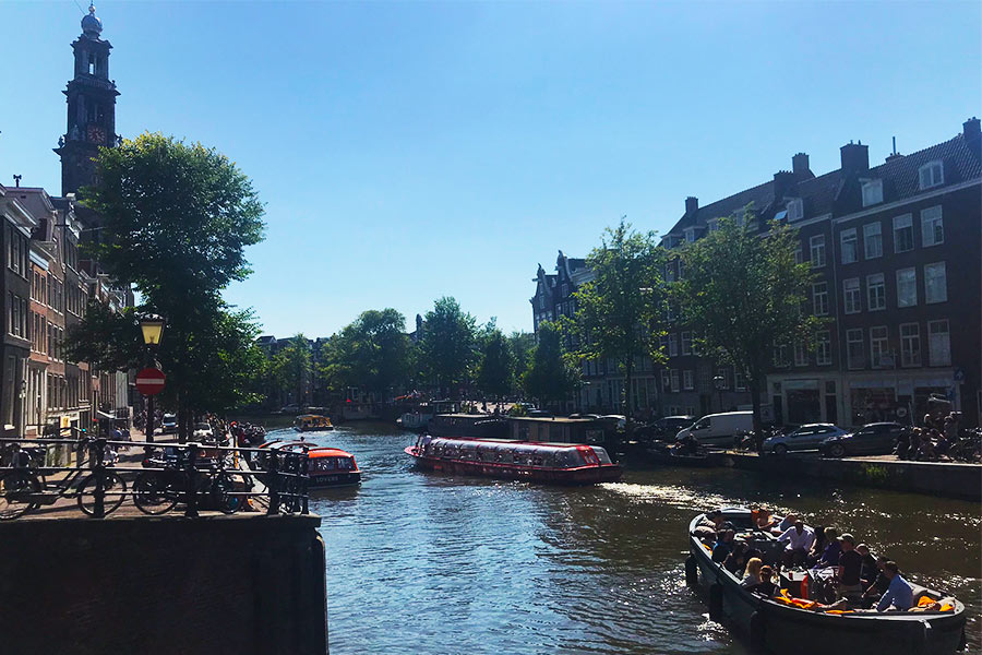 The Anne Frank house boat stop to get off from