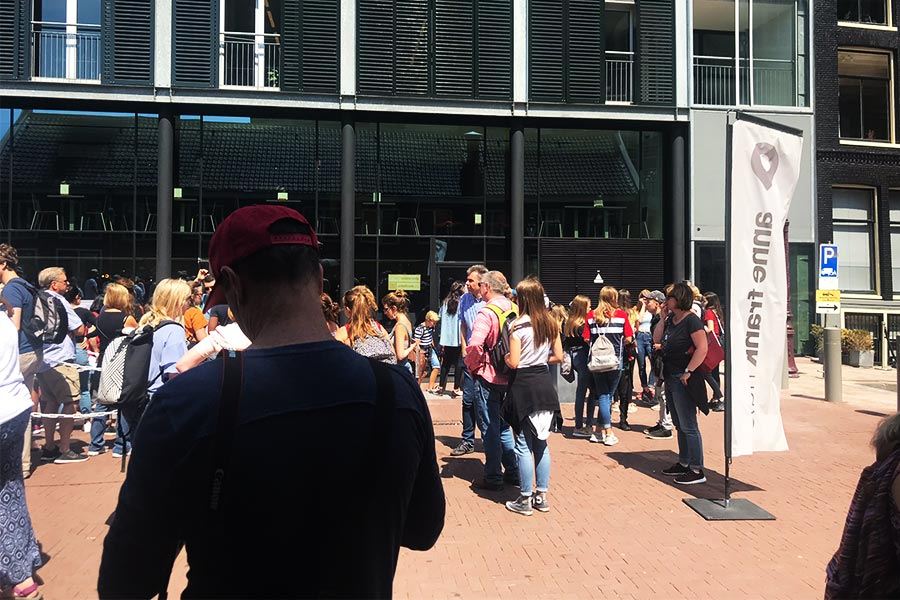 The line to wait in with your ticket to the Anne Frank House