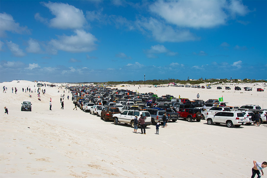 Hundreds of 4WDs at the Lancelin 4WD Ute Muster