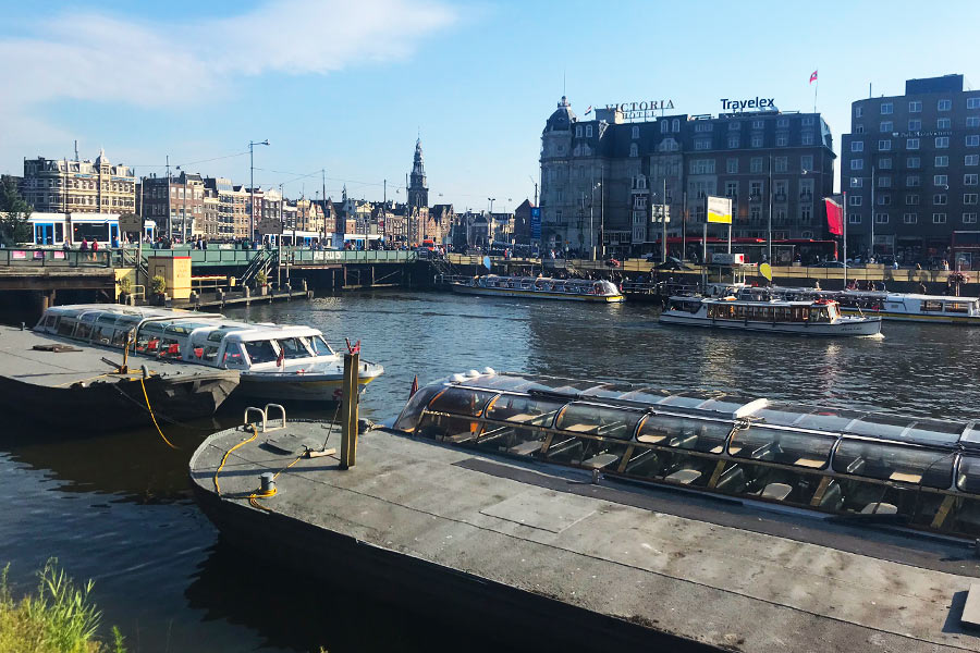 View of boats and buildings in Amsterdam